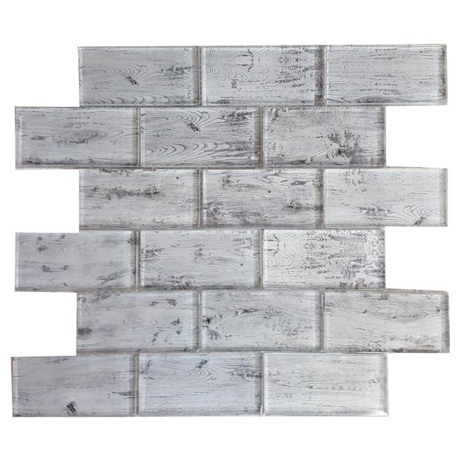 Mosaïque de verre « Woodlook », 12 po x 12 po, boîte de 5