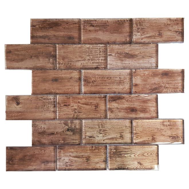 Mosaïque de verre « Wood », 12 po x 12 po, boîte de 5