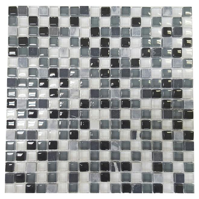 Mosaïque de verre et marbre « Roccia », 12 x 12 po, bte de 5