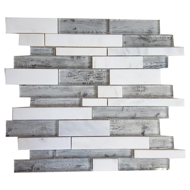 Mosaïque de verre et marbre « Roch », 12 x 12 po, bte de 5