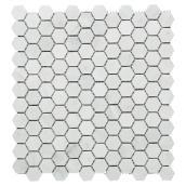 Mosaïque de marbre « Hexagone », 12 x 12 po, blanc