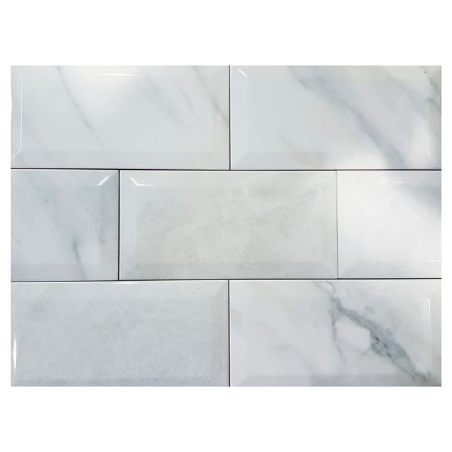 Tuiles de céramique, 4 po x 8 po, marbre lustré