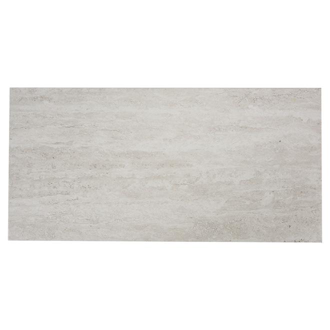 Tuiles de porcelaine, mur/plancher, gris/blanc, 8/boite