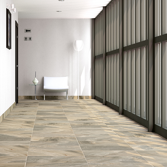 "Denver Stone Porcelain Tile - Grey - 12"" x 24"""