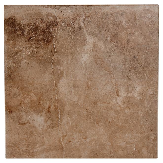 Tuile de céramique, 16'' x 16'', brun, 11/boîte
