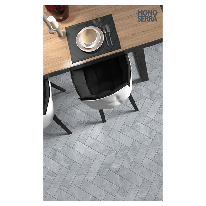 "Orobico Silver Porcelain Tiles - 4"" x 12"" - 42/Box - Grey"