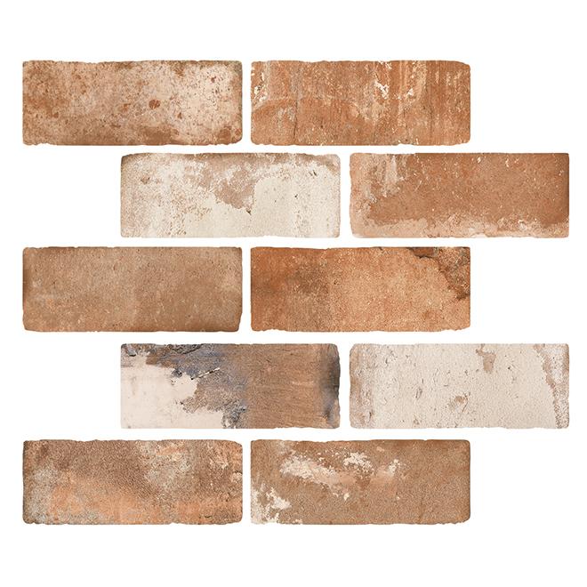 "Mono Serra Porcelain Tile - Brick Road - 3"" x 10"" - Rust"
