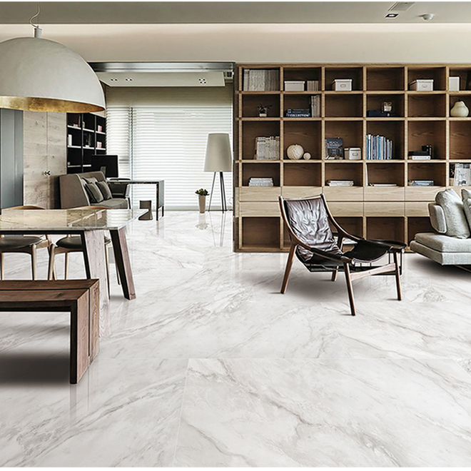 """Porcelain Tile with Marble Effect - 24"""" x 24"""" - 15.5 sq.ft."""