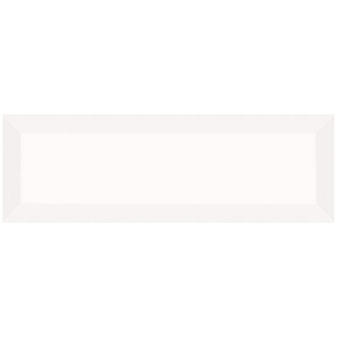 Tuiles de céramique Mono Serra Tiffany de 4 po x 12 po, 8,4 pi², blanc lustré, 26/bte