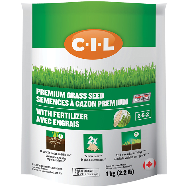 Grass Seed Coated with 2-5-2 Fertilizer - 1076sq.ft.- 2.2lb