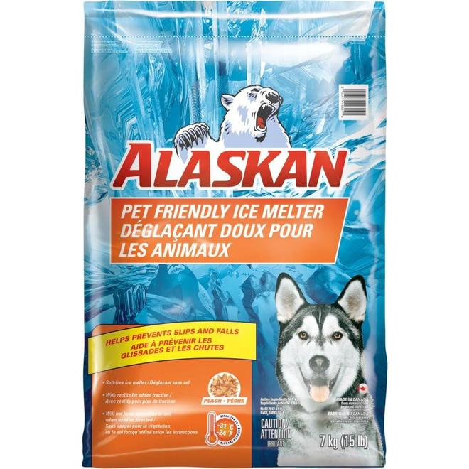 Déglaçant doux pour les animaux Alaskan en contenant, 15 lb