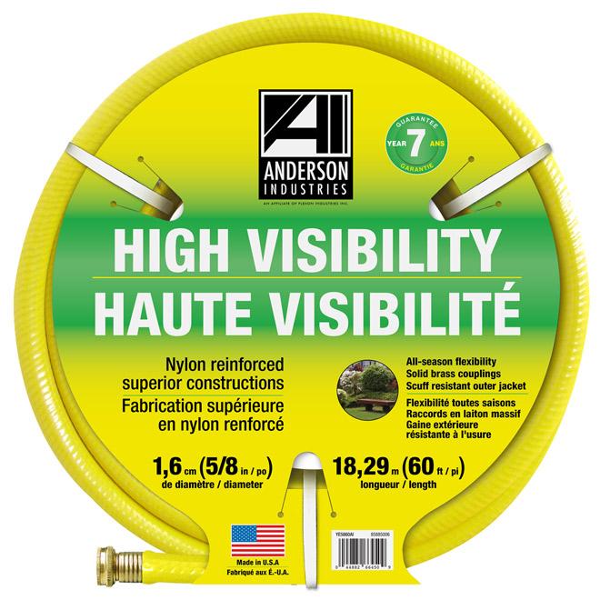 Boyau d'arrosage haute visibilité, 5/8po x 60pi