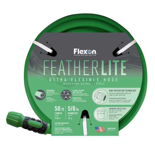 Flexon FeatherLITE Ultra Flexible Hose - 50-ft x 5/8-in - Green