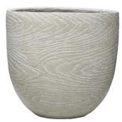 Pot, Garant, oeuf bois, résine 16 po x 13 po, blanc cassé