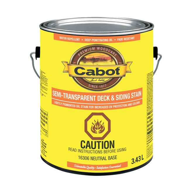 Cabot Deck and Siding Stain - Neutral Base - Semi-Transparent - 3.43-L
