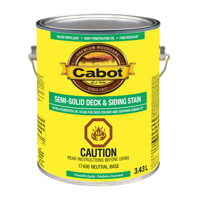 Cabot Exterior Wood Stain - Semi-Transparent - Neutral Base - 3.43 L