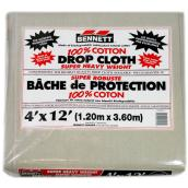 Drop Sheet - 100% Cotton - 4-ft x 12-ft