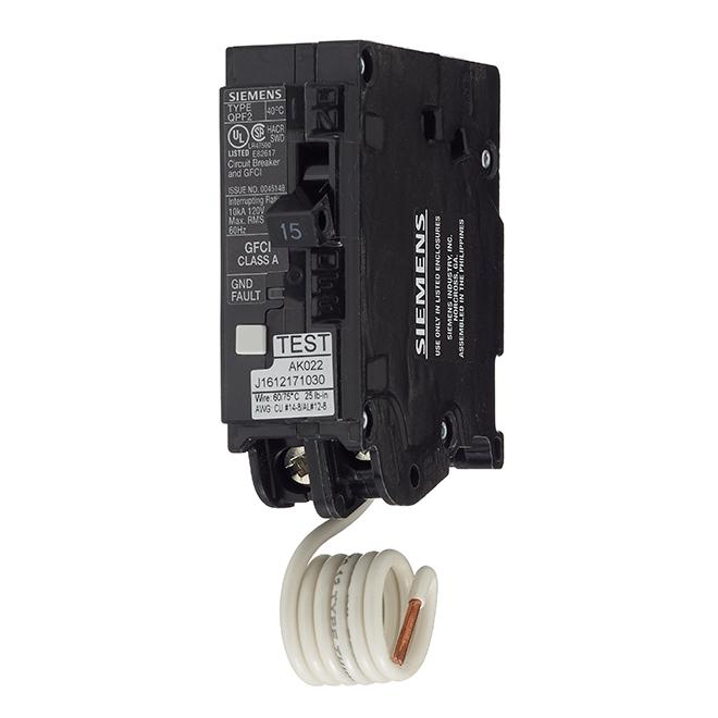 1-Pole 120 V AC GFCI Circuit Breaker - 15 A Rated