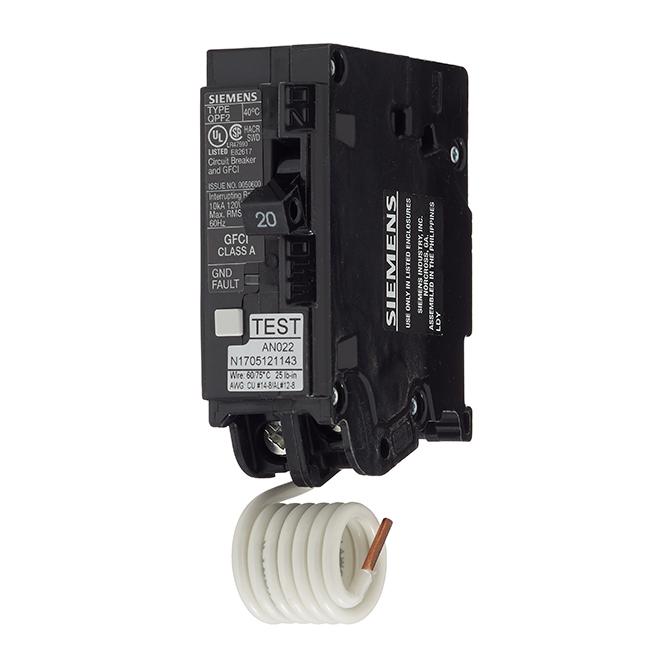 Disjoncteur DDFT 120 V c.a. unipolaire de calibre 20 A