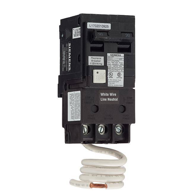 Disjoncteur DDFT 120/240 V c.a. bipolaire de calibre 20 A