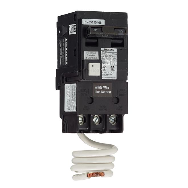 Disjoncteur DDFT 120/240 V c.a. bipolaire de calibre 30 A
