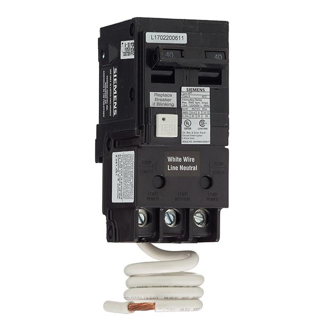 Disjoncteur DDFT 120/240 V c.a. bipolaire de calibre 40 A