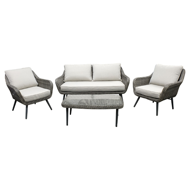 ''Gloria'' Outdoor Furniture Set - 4 Pieces - Grey/White