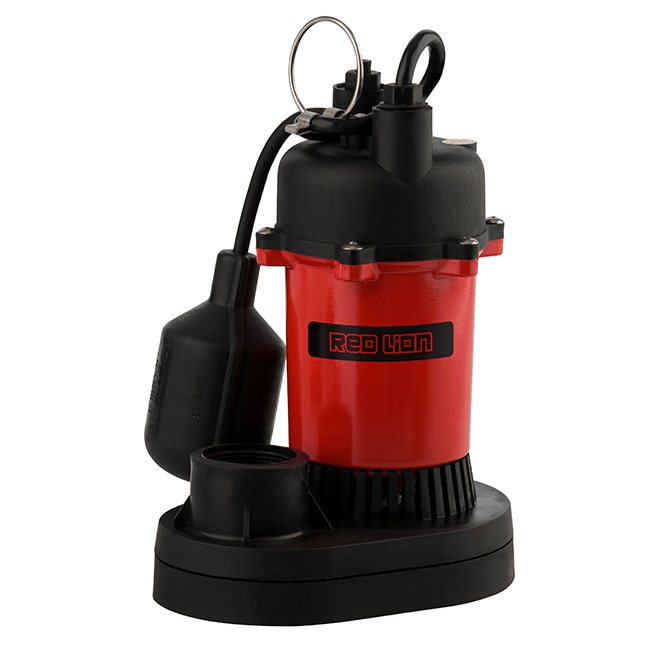 Pompe de puisard submersible, 1/3hp, 3200 gal/h, rouge