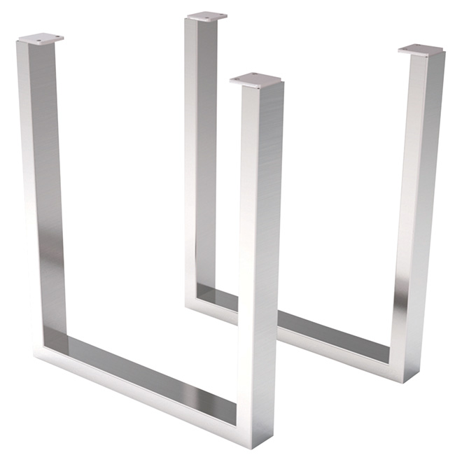 Set Of 2 Table Legs   Stainless Steel