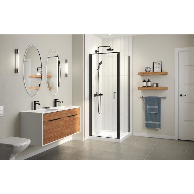 Technoform Pandora 32-in Shower Door with Clear Glass and Matte Black Frame