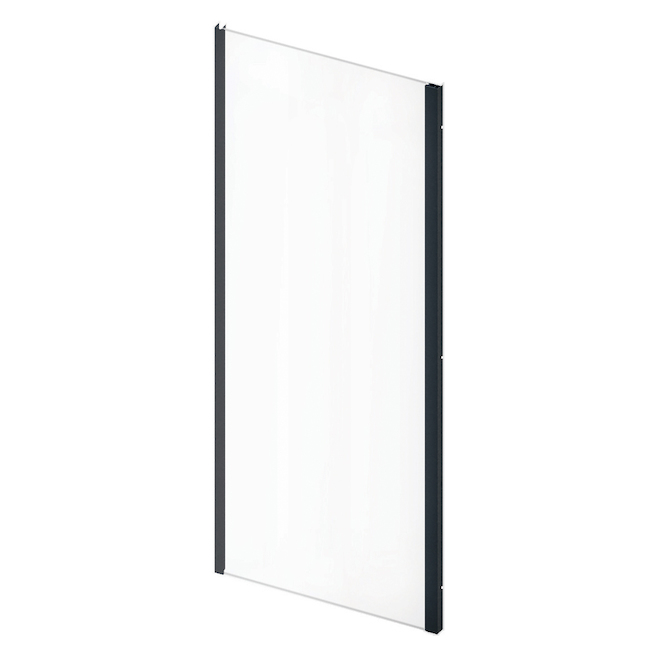 Technoform Pandora Return Glass Panel with Matte Black Trim - 32-in x 75.37-in