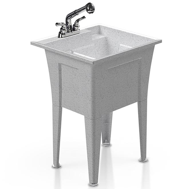 Cuve de lavage Technoform autoportante avec drain et robinet rétractable chromé, 22 po x 24,25 po, graphite