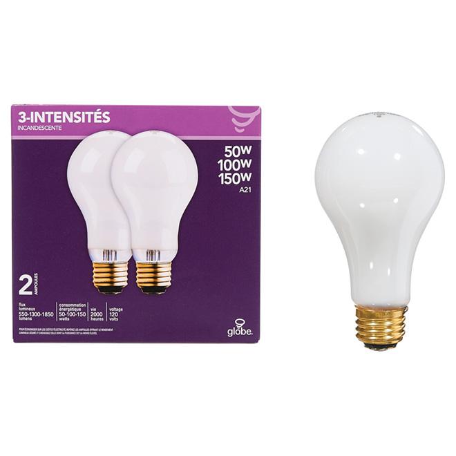 Ampoule incandescente à 3 intensités, 2 pk