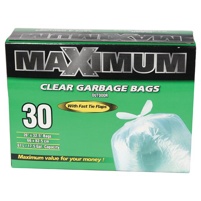 Maximum Outdoor Garbage Bags - Clear - 30 per Box 26363