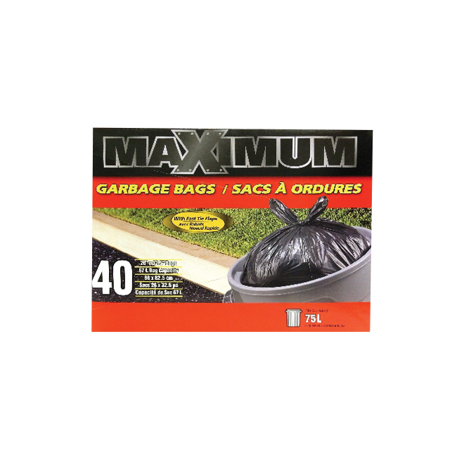 Garbage Bags - Pack of 40 - 67 L - Black