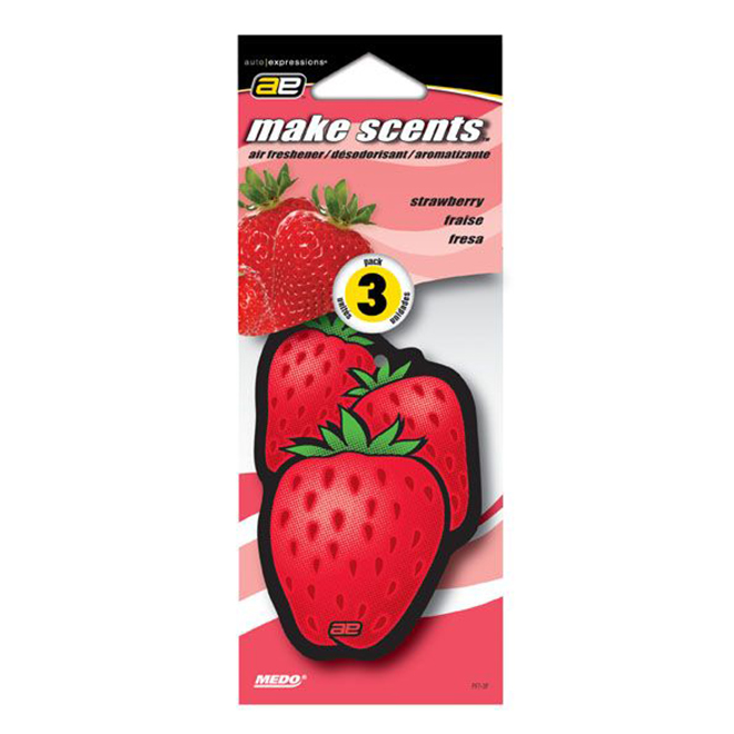Car Air Freshener - Strawberry - 3-Pack