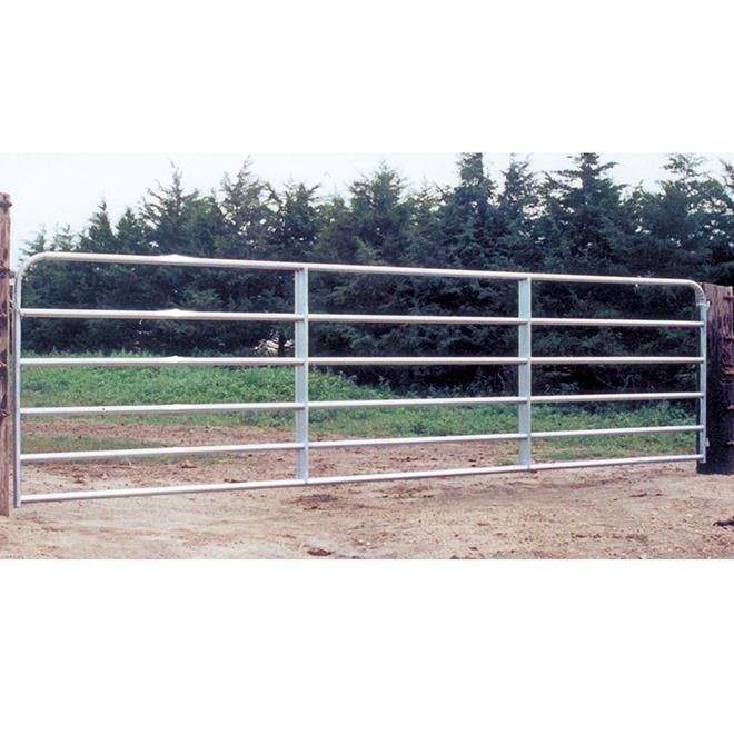 """Barrière de clôture, 6 barres, tube d'acier galv., 50"""" x 10'"""