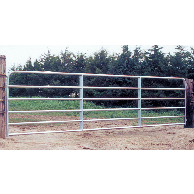 "Fence Gate - 6 Bars - Galvanized Steel Tube - 50"" x 14'"