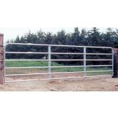 Barrière de clôture, 6 barres, tube d'acier galv., 50