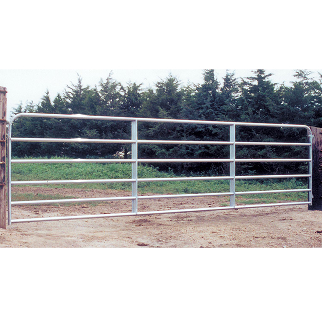 "Fence Gate - 6 Bars - Galvanized Steel Tube - 50"" x 16'"