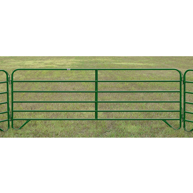 "Corral Fence Panel - 6 Bars - 20 GA Steel - Green - 60"" x 12'"