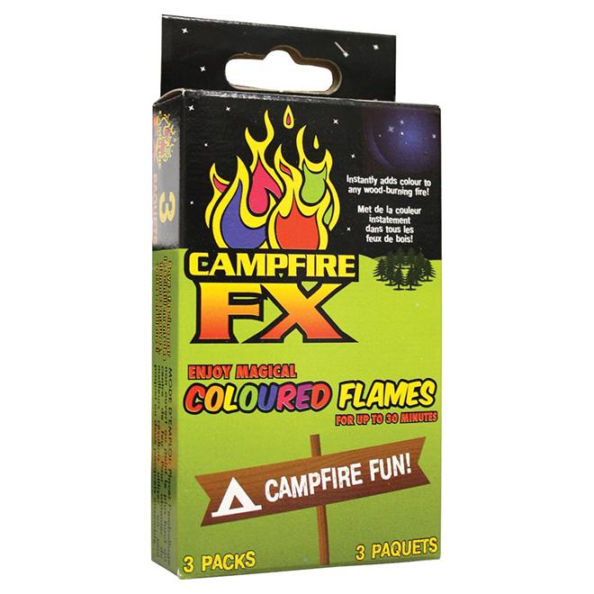 Flammes colorées Campfire FX, bleu/vert/mauve, paquet de 3