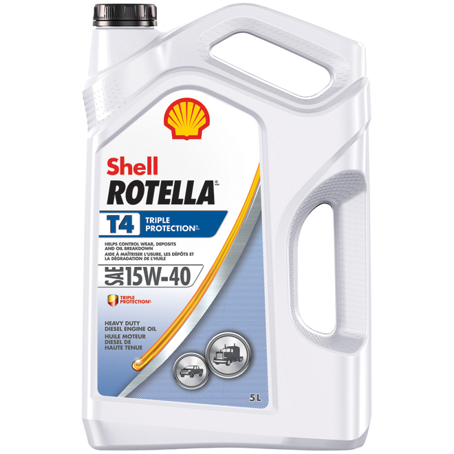 Huile moteur diesel usage intensif, Rotella T4, 15W40, 5 L