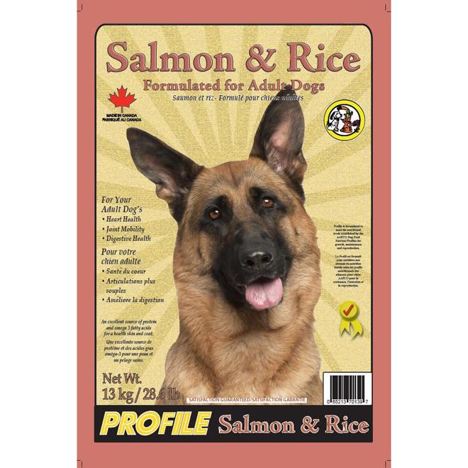 Nourriture pour chiens adultes, saumon et riz, 13 kg