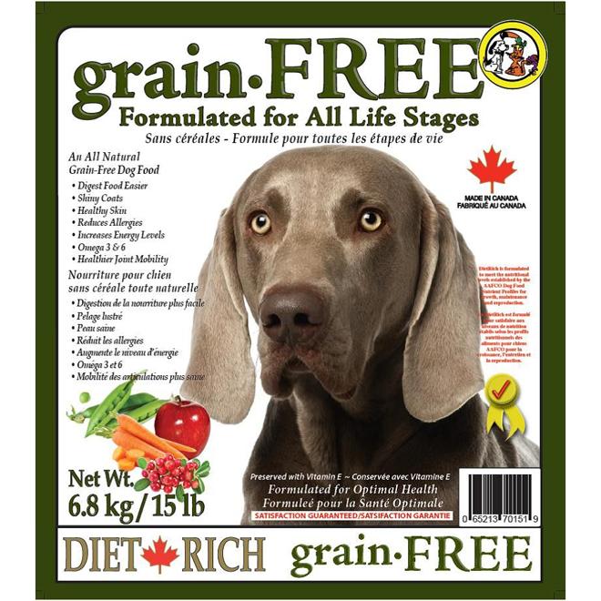 Nourriture pour chiens sans céréales, 6,8 kg