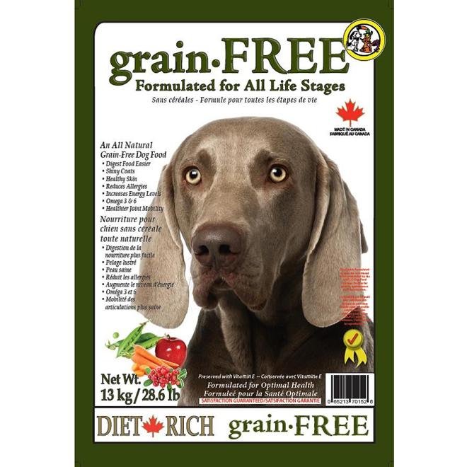 Nourriture pour chiens sans céréales, 13 kg