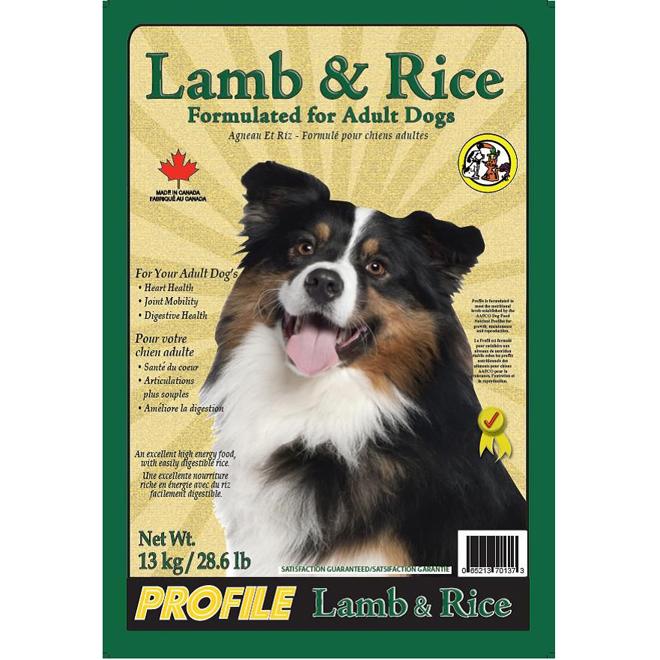 Nourriture pour chiens adultes, agneau et riz, 13 kg