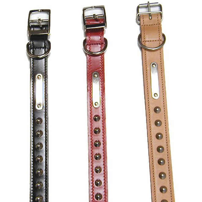 Double Studded Leather Collar Dog - Black - 26''