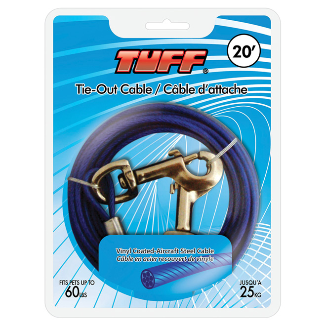 Dog Tie-Out Cable - Small and Medium Size Dogs - 20'