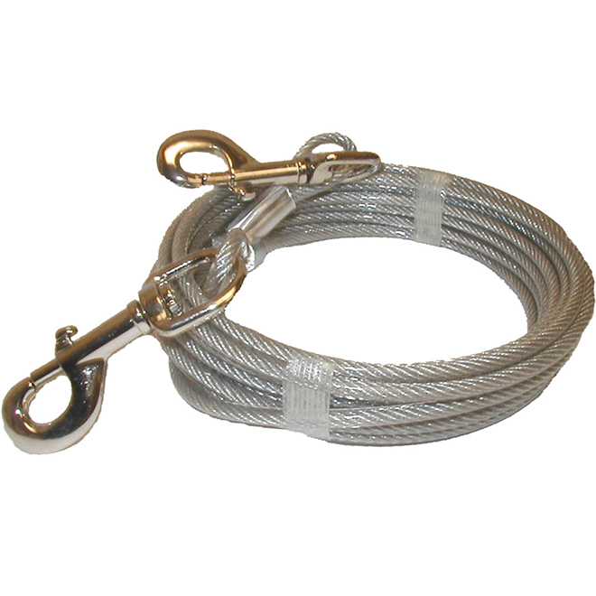 Dog Tie-Out Cable - Large and X-Large Size Dogs - 20'